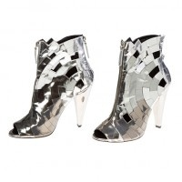 These have to be inspiration for just about anything..Giuseppe Zanotti silver metallic zip up open-toe booties