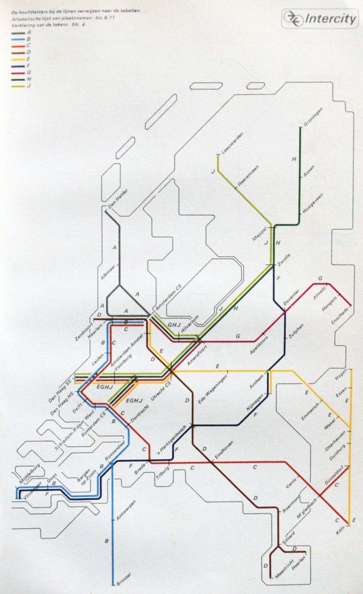 "Historical Map: ""Spoorslag 70″ Intercity Trains Map, The Netherlands"