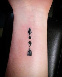 Semicolon Arrow Tattoo Design                                                                                                                                                                                 More