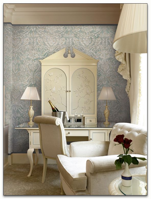 Nice Wallpaper For Living Room Part - 47: Grand Damask At Paul Montgomery Studio, Grand Damask, Living Room, White  Sofa