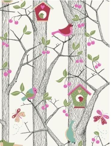 Borastapeter Lilleby 2652 vogelhuisjes behang