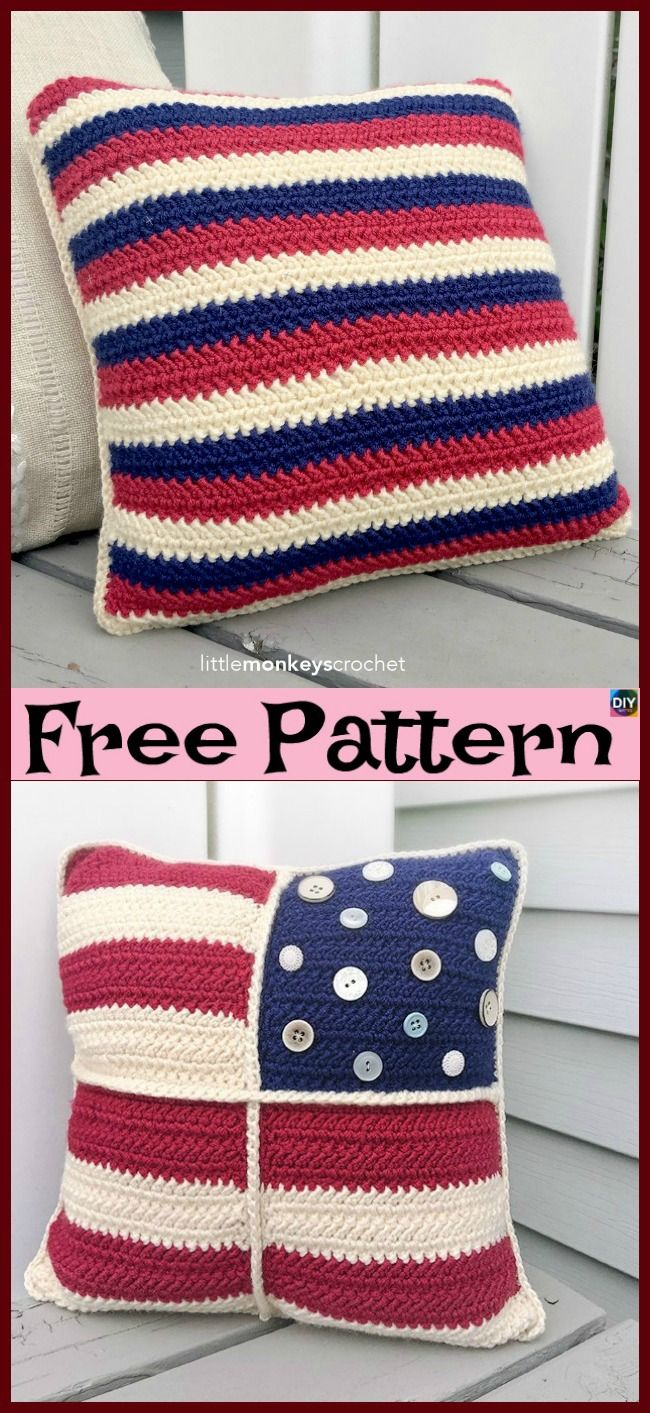 Unique Crochet Americana Pillow - Free Patterns | Handarbeiten und ...