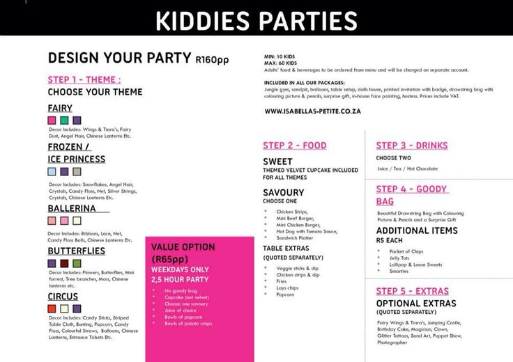Little girl parties... So cute!  Contact us on greenlyn@isabellas.co.za