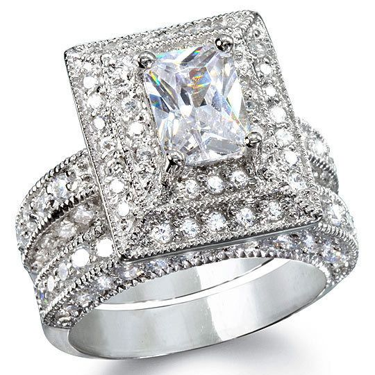 925 Sterling Silver Wedding Set 14k white gold Diamond Bridal Engagement Rings #notapplicable