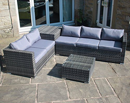 Fresh Rattan Outdoor Garden Furniture Corner Sofa with Storage Box in Grey