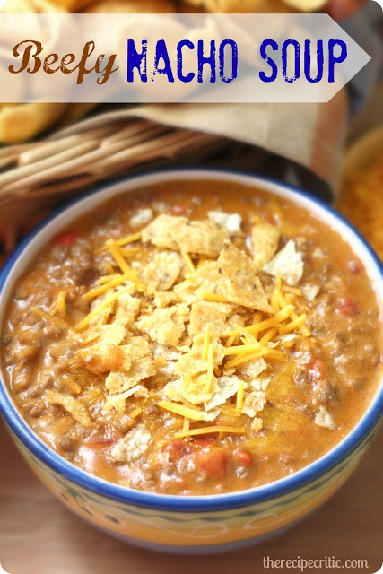 Beefy Nacho Soup  Ingredients  1 lb lean ground beef  1 pkg taco seasoning  1 cn (10 3/4 oz) nacho cheese soup  1 cn (10 oz) diced tomatoes and green chilis, undrained  1 1/2 cps milk  3/4 cp sharp cheddar cheese  1.In a 2 quart saucepan, cook the ground beef and drain the fat.  2.Add the remaining ingred into the saucepan.  3. Cook for about 8-10 min. until thoroughly heated through. Can keep warm in crockpot for a few hours.  4. Serve with sharp cheddar cheese on top and crushed tortilla…