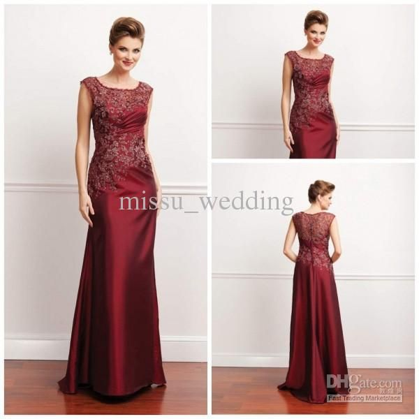 Wholesale Mother of the Bride Dresses - Buy 2013 Burgundy Jewel Sheath Floor Length Satin Sleeves Applique Bead Lace Mother of the Bride Dress Long Evening Dress Prom Gowns Plus Size, $125.0 | DHgate