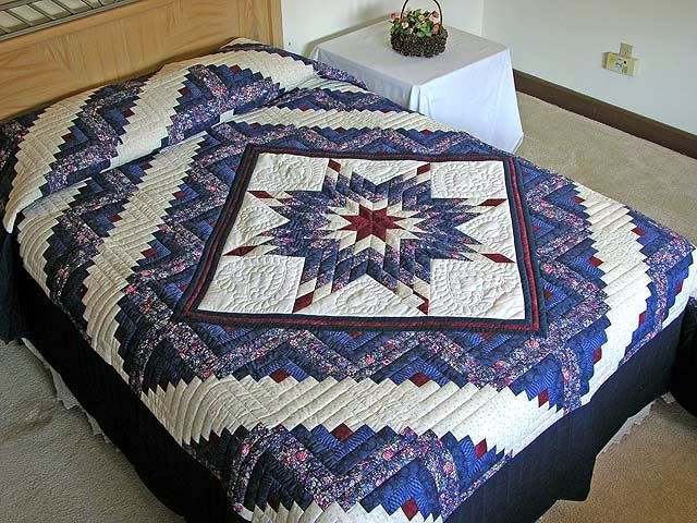 Lone Star Log Cabin Quilt -- great cleverly made Amish Quilts from Lancaster (hs1287)