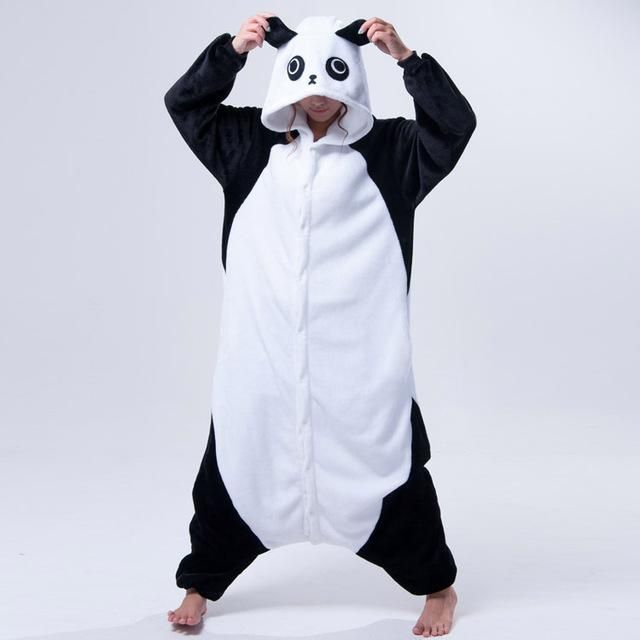 New Panda Cosplay Pajamas Unisex Animal Onesies Winter Sleepwear Jumpsuit Pyjamas