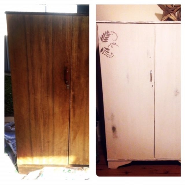 This old cupboard was a roadside find. It came with hanging rail and drawers inside and was in great condition. I did a coat of white chalk paint, put a decal on the front, replaced the handle on the front and put some shelving inside to make it a shoe cabinet.