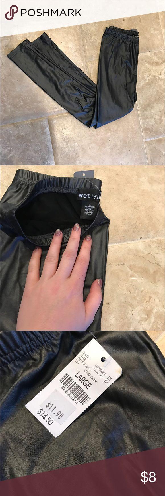 Faux leather charcoal leggings 💕 NWT❤️ Wet Seal Pants Leggings