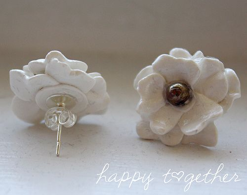 Charming Clay Flower Earrings by ohsohappytogether, via Flickr