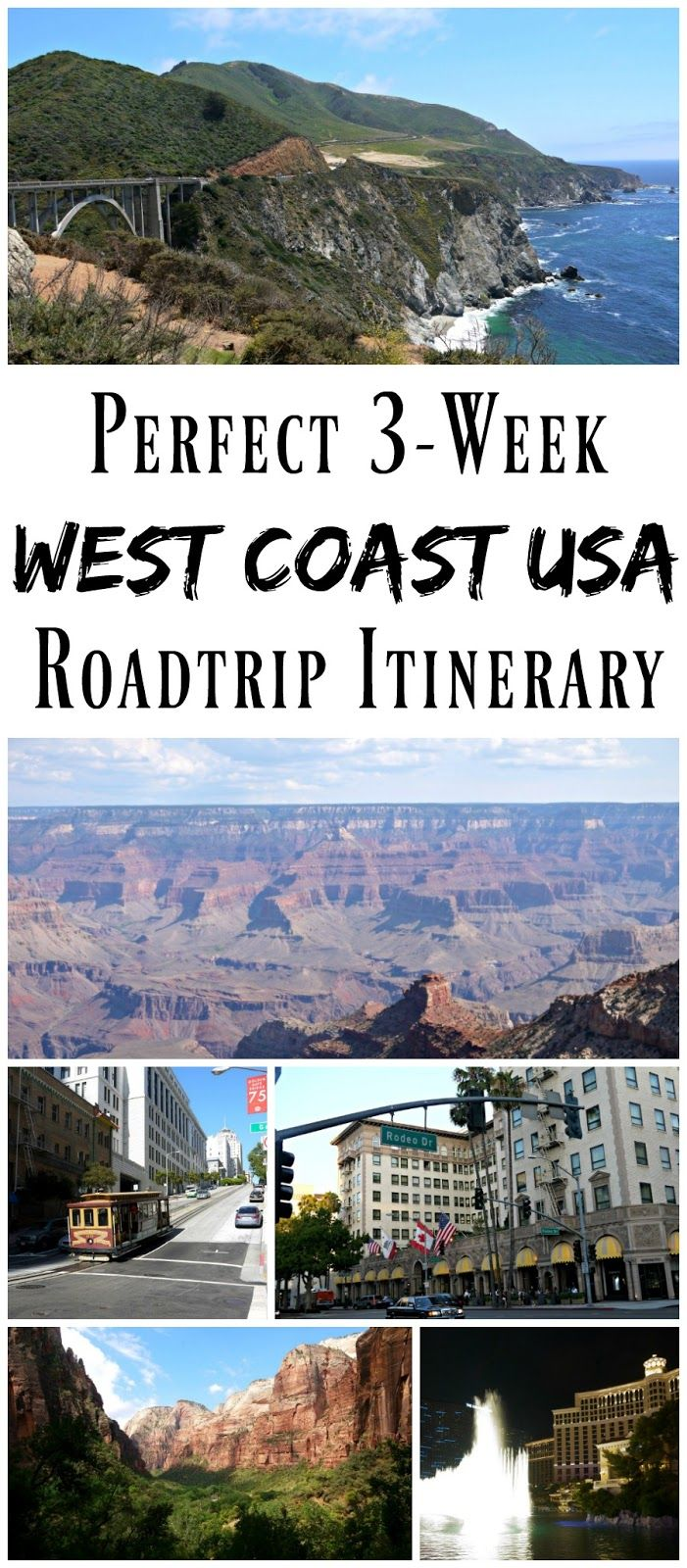 PIN FOR LATER: The Perfect 3-Week West Coast USA Roadtrip Itinerary! Start in San Francisco, then drive down the Pacific Coast Highway through Big Sur to Pismo Beach. From there you go to Beverly Hills, Phoenix, Sedona, Grand Canyon, Zion National Park, and Las Vegas! The most epic North American roadtrip itinerary!
