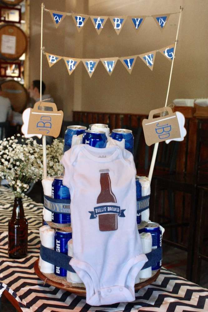 Check out this Brewery Baby Shower for great ideas! Love this diaper and beer can cake! See more party ideas and share yours at CatchMyParty.com