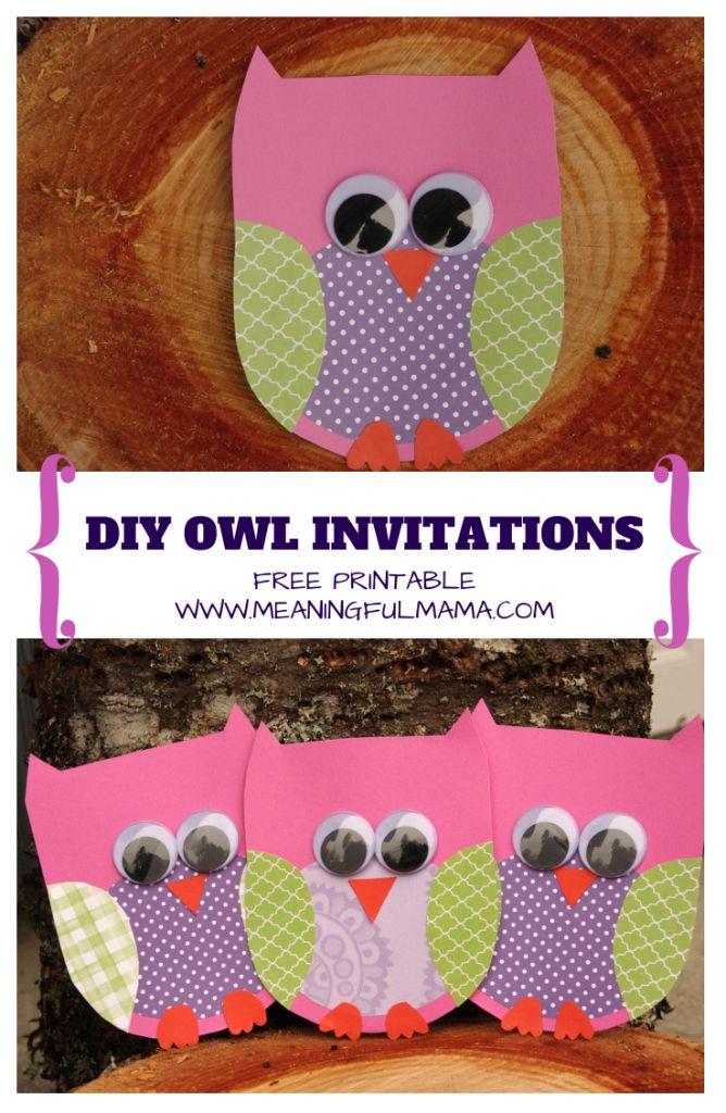 Owl Invitations DIY Free Template Printable - Meaningful Mama