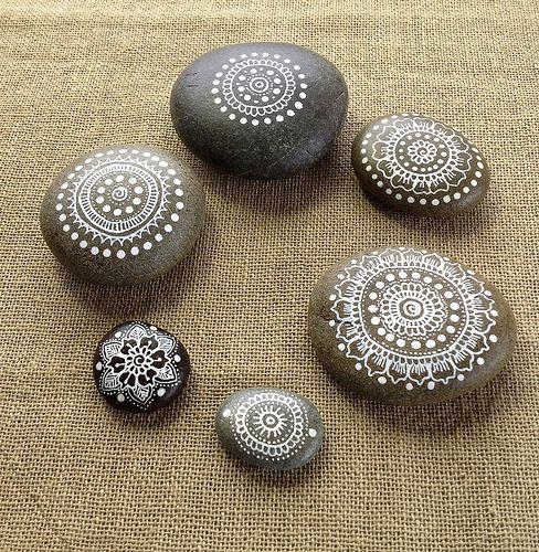 Mandala Pebbles-Painted Pebbles