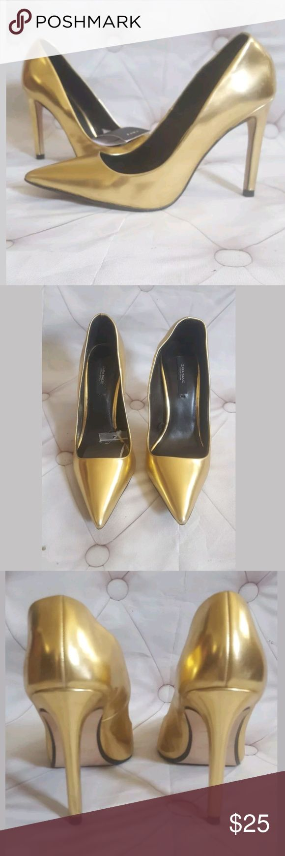 Zara Gold Heels sz EU 37 US 6.5 may fit 6 Zara Gold Heels sz EU 37 US 6.5.shoe size it runs small.  I am 6.5 it fits but fits tightly.Can likely fit a size 6 as well. The shoes have been worn once Please observe all pictures. Shoes have minor scuffs.The left foot was slightly stretched but on foot conforms so does not look stretched on foot.Most scuffs located on left foot on right side where less noticeable on profile of foot. Minor scuffs noticeable unless at close eye level. Overall good…