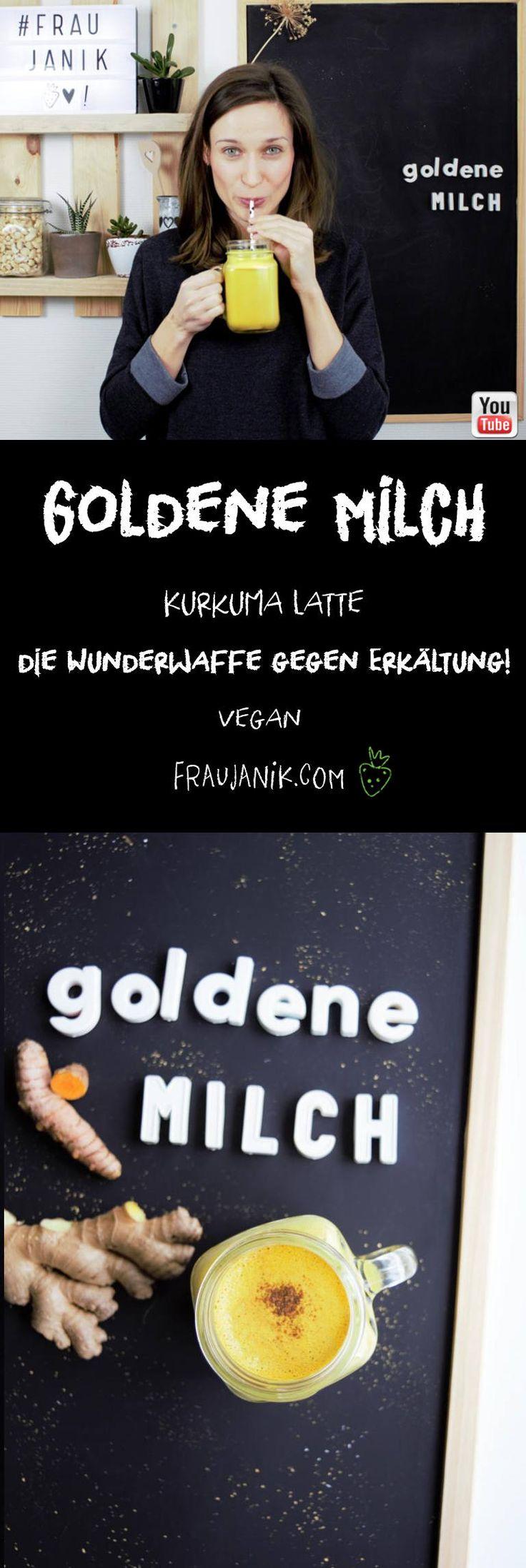 Goldene Milch | Kurkuma Latte | (vegan) die Wunderwaffe gegen Erkältung... Die Goldene Milch wirkt entzündungshemmend, stärkt das Immunsystem und regt die Leberfunktion an, unterstützt den Körper also bei der Reinigung und wirkt antioxidativ. #goldenemilch #kurkumalatte #kurkuma #gesund #gesunderezepte #ingwer #erkältung #tee #gesundegetränke