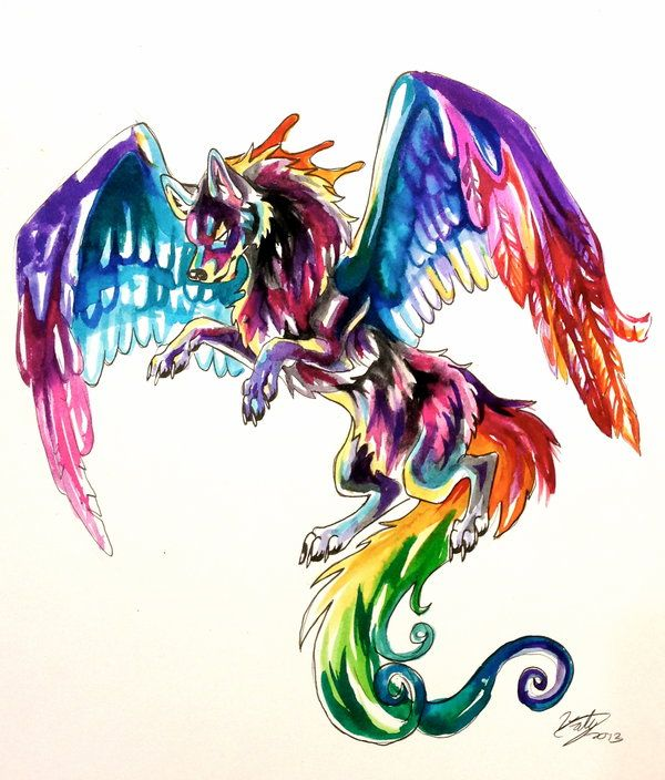colorful flying wolf tattoo by lucky978 on deviantart creativecreatures pinterest tattoo. Black Bedroom Furniture Sets. Home Design Ideas