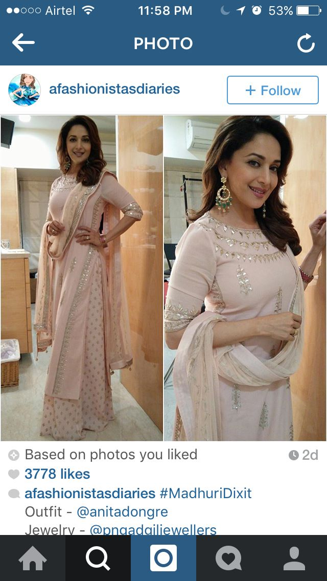 Maduri Dixit in a blush peach outfit by Anita dongre