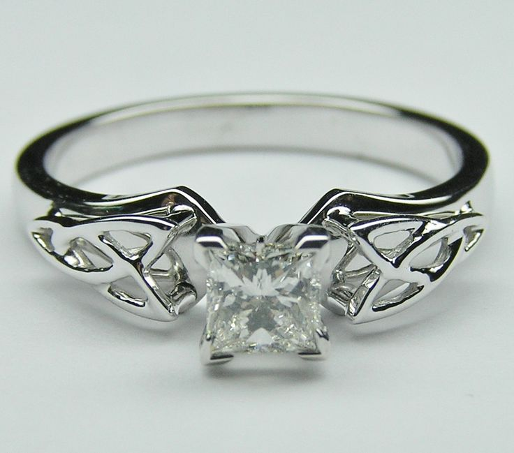 princess diamond triquetra celtic engagement ring in 14k white gold - Wiccan Wedding Rings