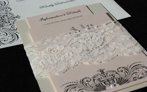 Blush, ivory and lace #wedding invitations. Very elegant and glam! By @Matty Chuah Event Essentials.   http://stylesizzle.com/bridal/wedding-week-event-essentials#
