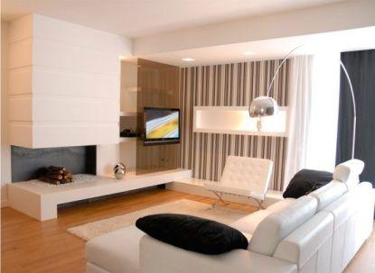 Living blanco comedor blanco y negro minimalista sala for Casa minimalista living