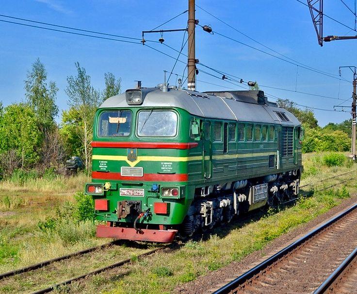 Luhanskteplovoz Diesel-electric locomotive from M62 series at Razine in Ukraine