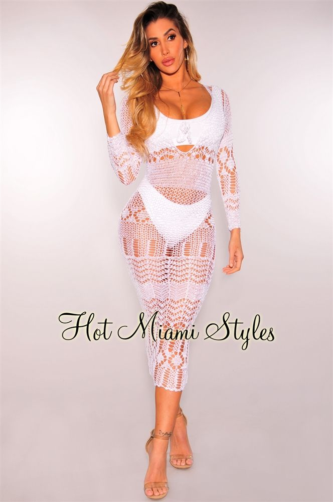 7166856e435f7 White Silky Crochet Cover-Up Long Sleeves Maxi Dress in 2019 | See ...