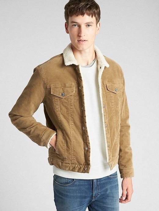d5c1c288b Gap Mens Sherpa-Lined Icon Cord Jacket Cream Caramel