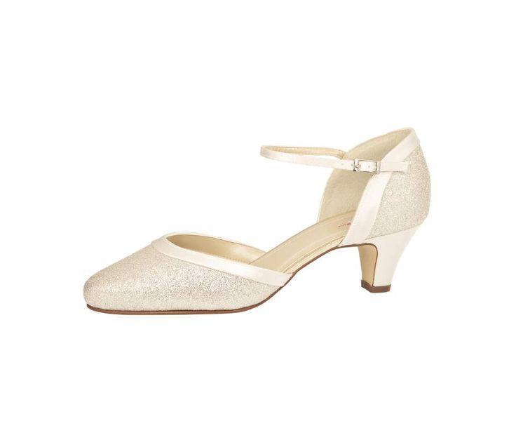 Bruidsschoen met bandje, Trouwschoen lage hak, Wedding shoes mid and low heel, Wedding shoes sparkly, trouwschoen met glitter, Online webshop levering NL & BE www.sayyestothedress.nl / www. syttd.com