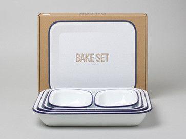 Enamel Bake Set, White with Blue Rim traditional-bakeware-sets