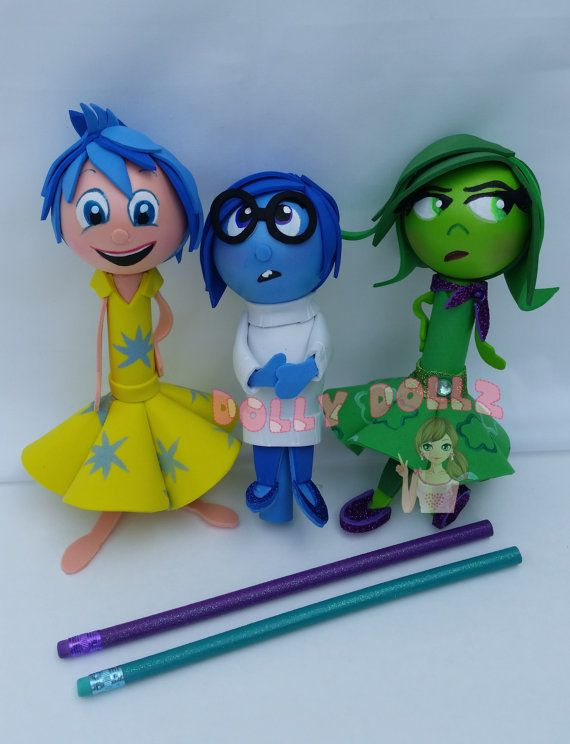 Disneys Inside Out Character pencil covers   These cute pencils are sure to be a favorite. The pencil/pen covers is a great way to bring a toy to your school or office with you. We guarantee you'll be the coolest kid on your block or person at the office. The covers are reusable, one the ink pen is empty, replace it with a regular ink pen of your choice.  They are so cute, they revamp any ordinary boring pencil/pen to brighten up your day.  The pencil covers are 100% handmade out of raw…