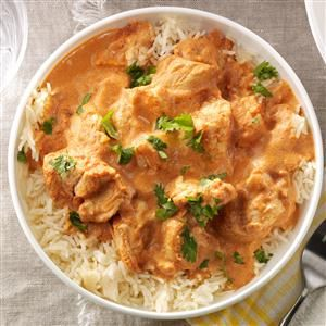 Chicken Tikka Masala Recipe -This Indian-style dish has flavors that keep me coming back for more – a simple dish spiced with garam masala, cumin and gingerroot that's simply amazing. —Jaclyn Bell, Logan, Utah