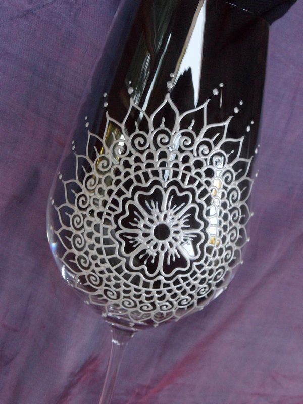 Mehndi Arm Glass : Best images about art wine glasses on pinterest