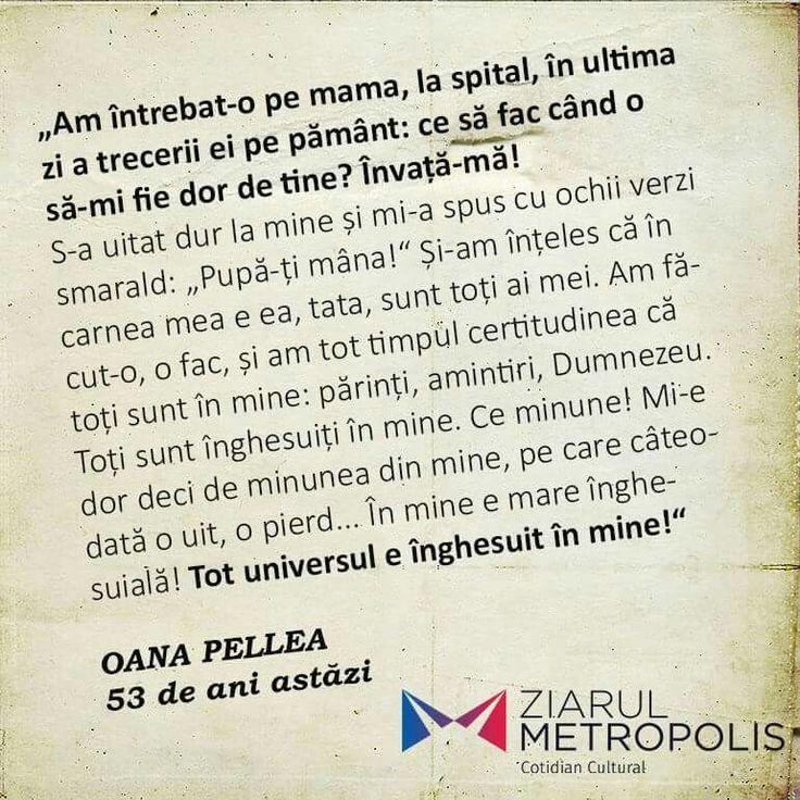 Oana Pellea- Cand ti-e dor de mama, de cei dragi tie...