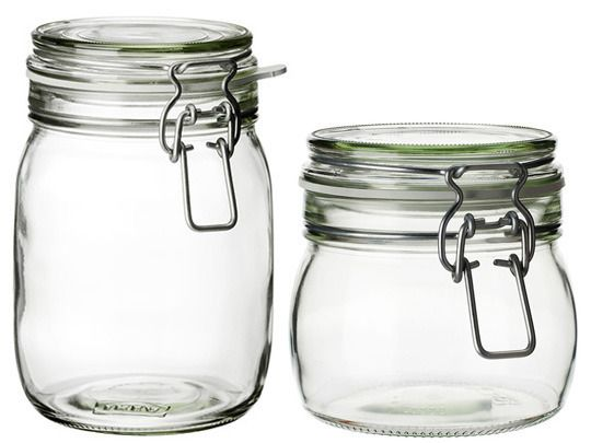KORKEN Glass Jars with Lids, $2.99 - $3.00: I have a dozen or more of these glass jars in my kitchen. They're super cheap, durable, and terrific for holding pantry staples.