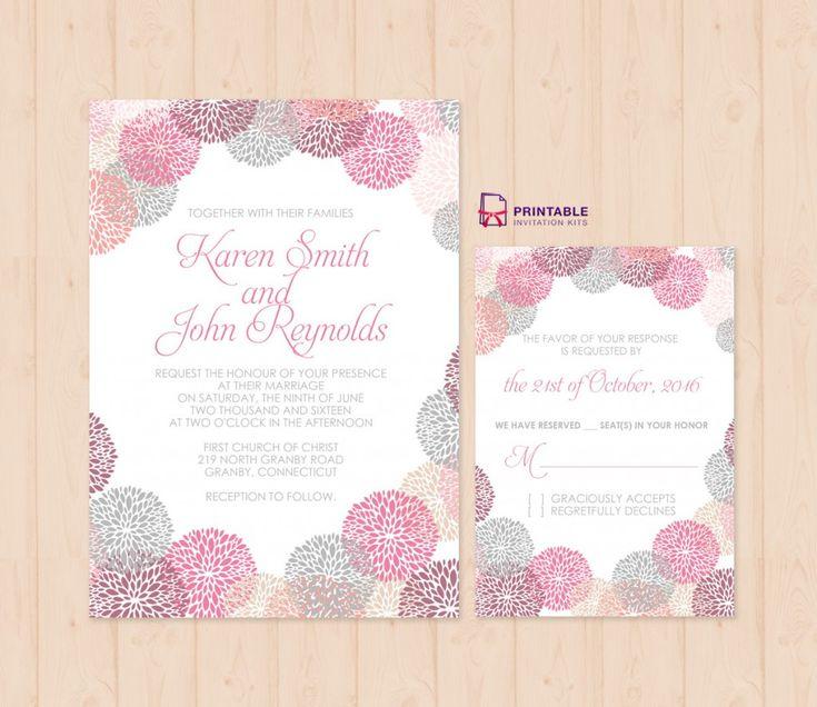 FREE PDF Download - Flower-works Wedding Invitation and RSVP Set