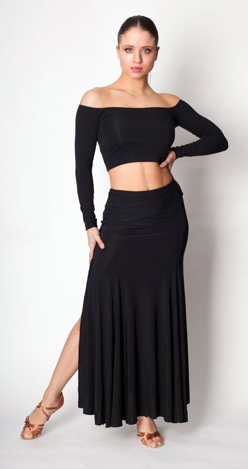 Long skirt perfect for Tango, Waltz or Paso Doble. Asymmetrical waistand. Side slit allows for extra movement.