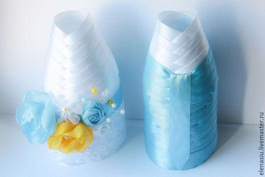 Свадебные аксессуары ручной работы. Ярмарка Мастеров - ручная работа. Купить Нежные цветы - оформление бутылок н свадьбу с цветами и кружевом чехлы. Handmade.