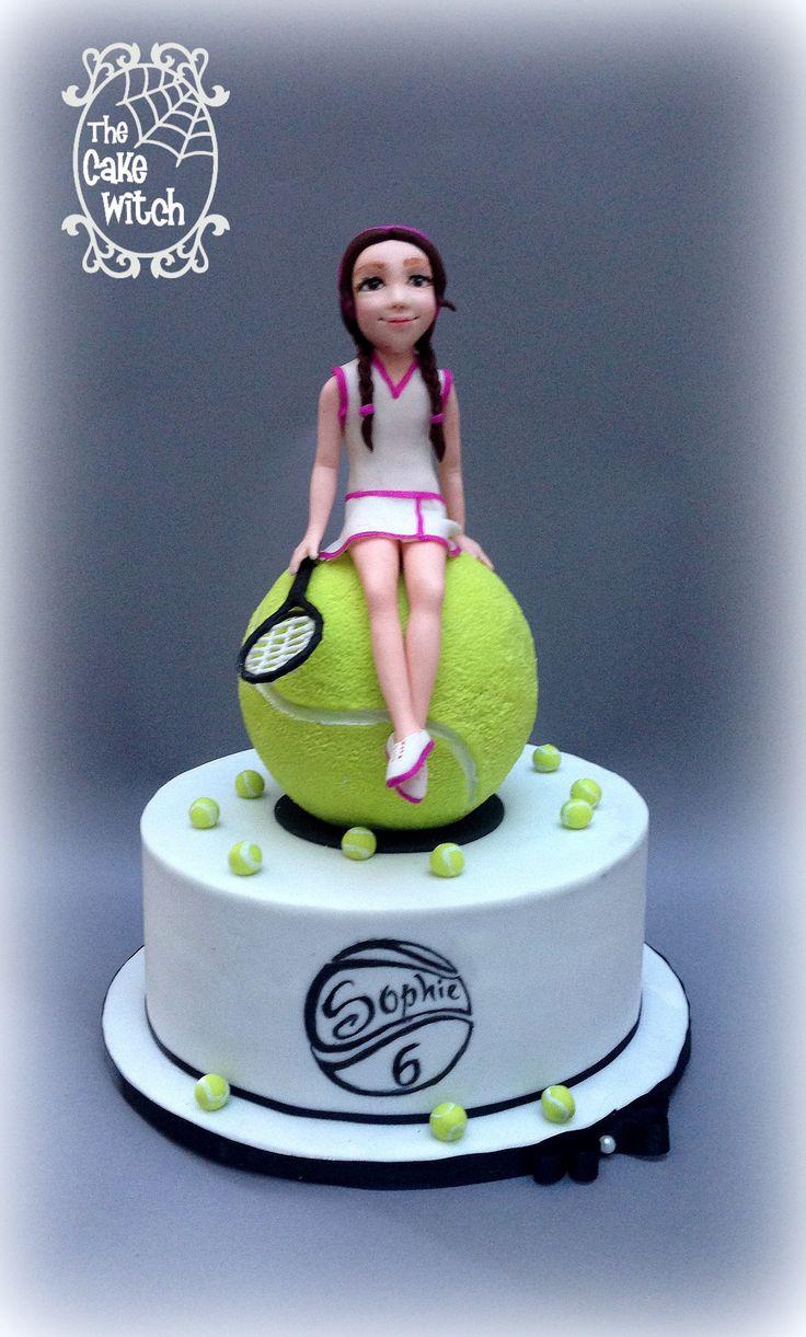 Tennis Birthday cake - Tennis Ball RKT, Tennis Player Girl Figurine