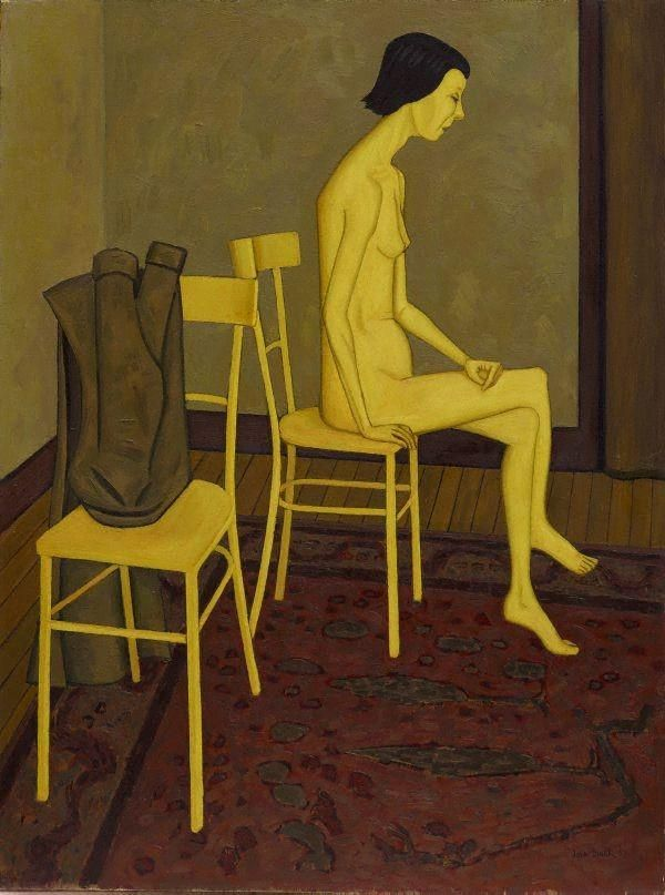 John Brack(Australian artist 1920ー1999)「Nude with two Chairs」