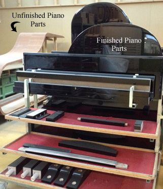 Finished Piano Parts in Piano Factory