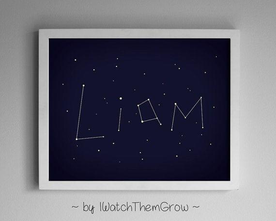 Custom Name Constellation Art Print, Personalized Printable for Nursery Kid's Bedroom, Stars Night Sky, 8x10 or 11x14 DIGITAL FILE
