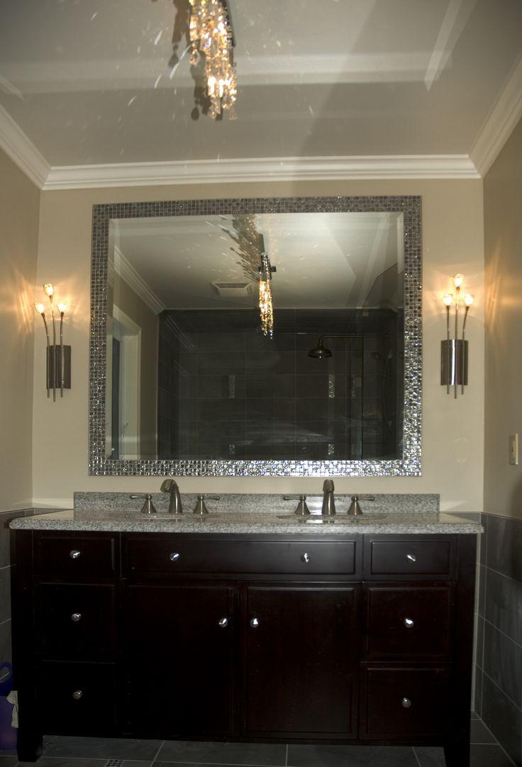Custom Size Mirror With Custom Mosaic Frame Created By Floor Bath Design