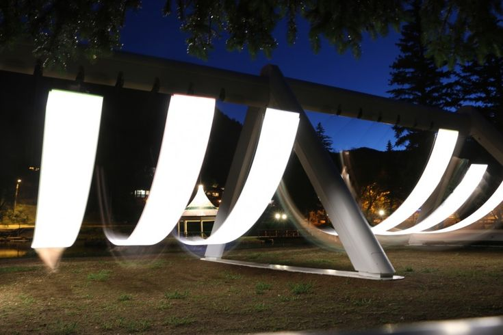 An Illuminated Musical Swing Set Installed at Green Mountain Falls in Colorado swings light installation Colorado