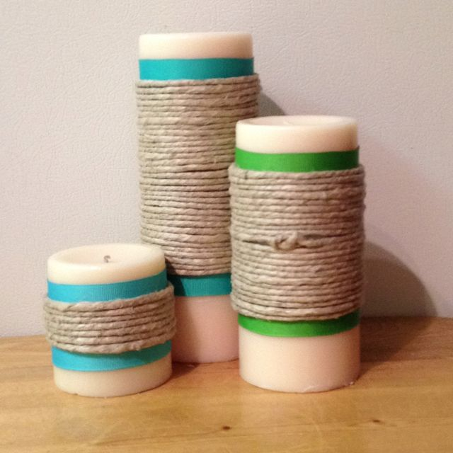 diy ribbon and twine candles for bathroom decor
