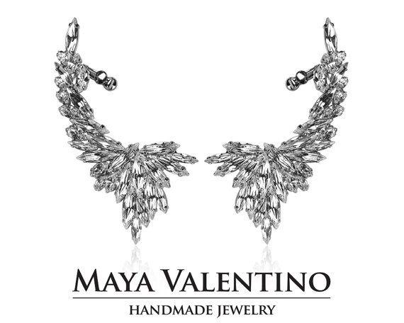 Bridal ear cuff warp earrings big ear cuff silver by MayaValentino