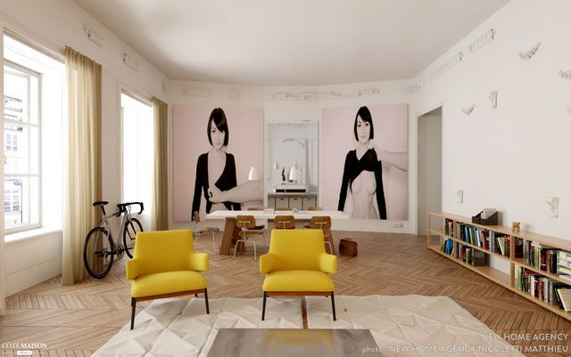 So Much Beauty Apartment in Paris #dinning room #fireplace #kitchen #living room