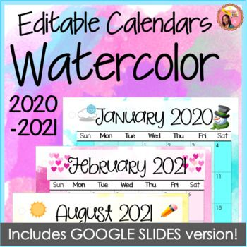 2020-2021 Calendars Editable Watercolor for PowerPoint and ...